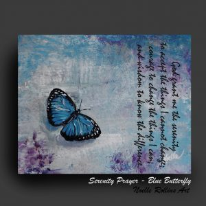 blue butterfly canvas serenity prayer canvas print