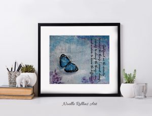 serenity prayer art with blue butterfly