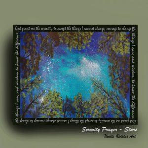 stars through trees with serenity prayer