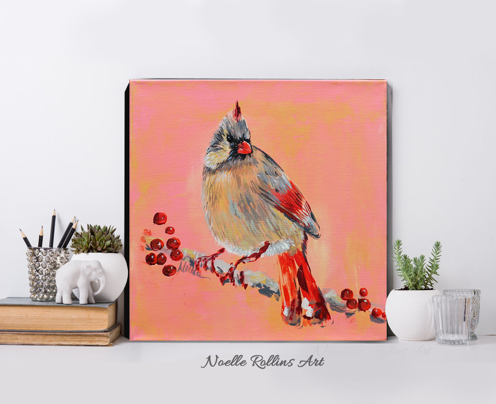 female cardinal original art