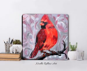 cardinal on branch art