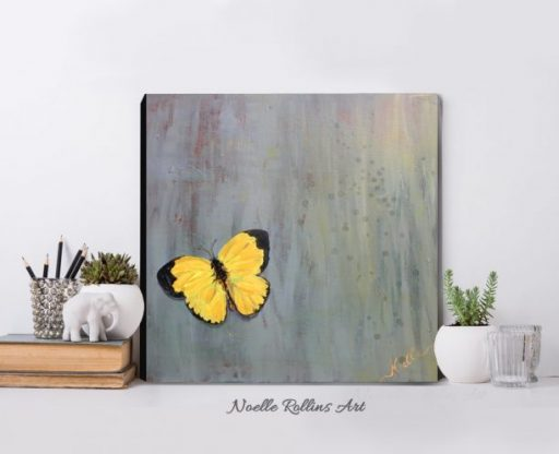 yellow butterfly art