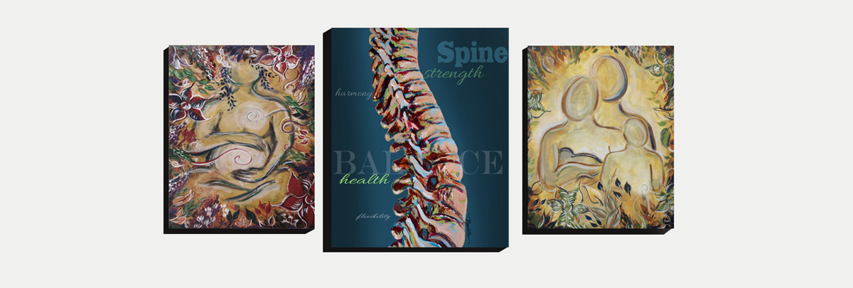 spine art with blue background