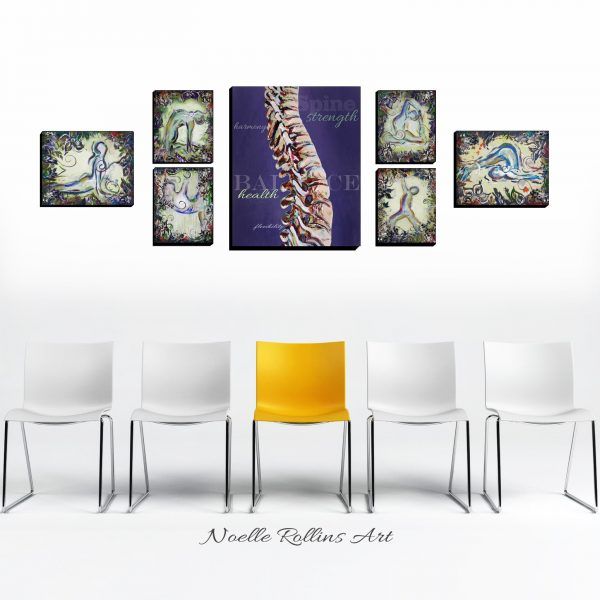 colorful bold yoga art set
