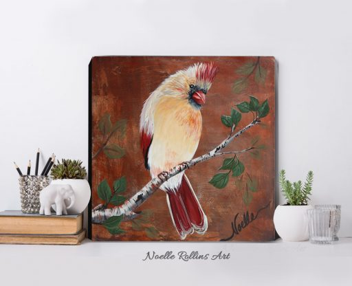 female cardinal painting