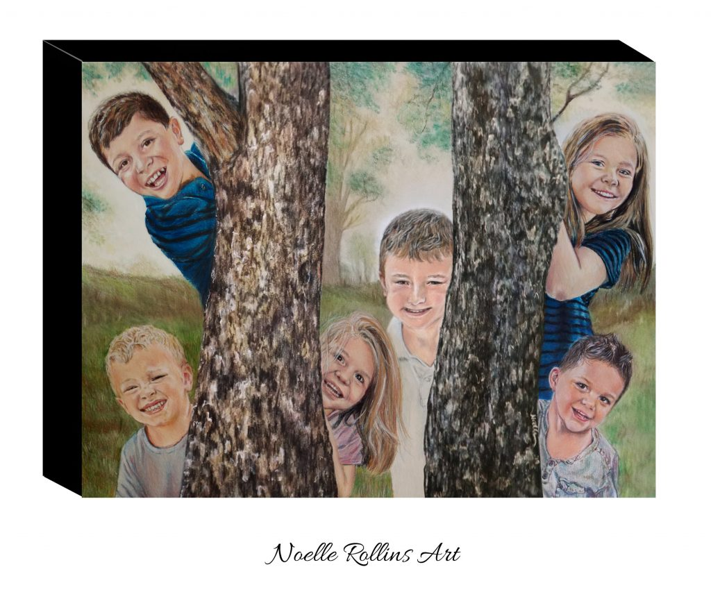 portrait of 6 kids peeking around trees