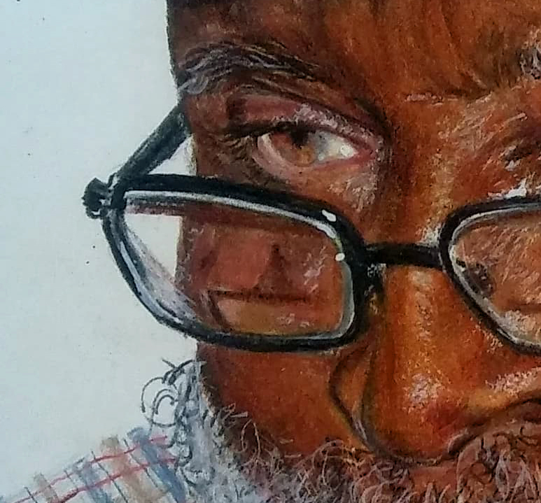 closeup of man with glasses done in colored pencils
