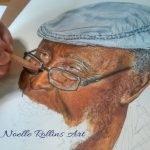 Noelle drawing portrait of man