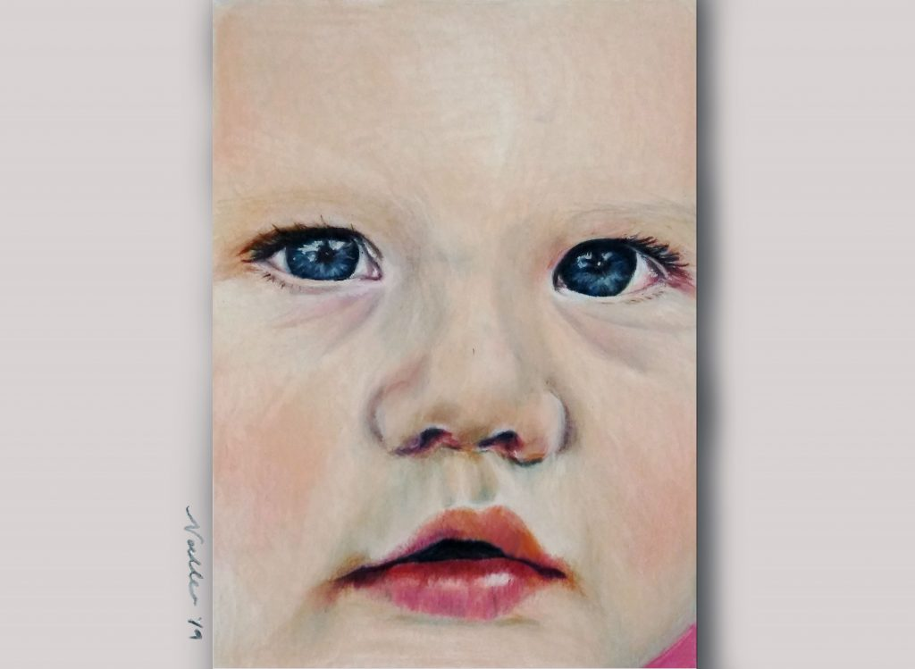 baby portrait gift of little girl for first birthday