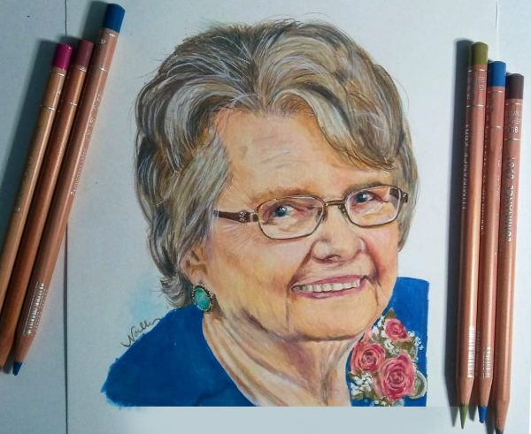 elderly lady drawing of Grandma