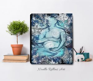 custom blue and silver pregnancy art