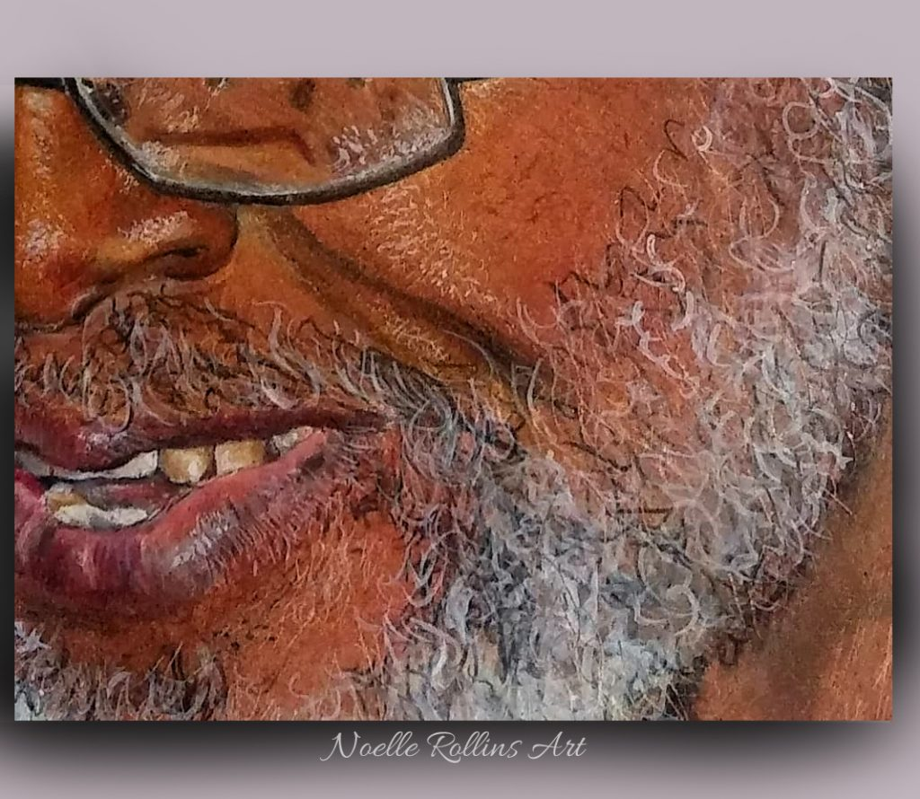 portraits of man with beard closeup done in colored pencils