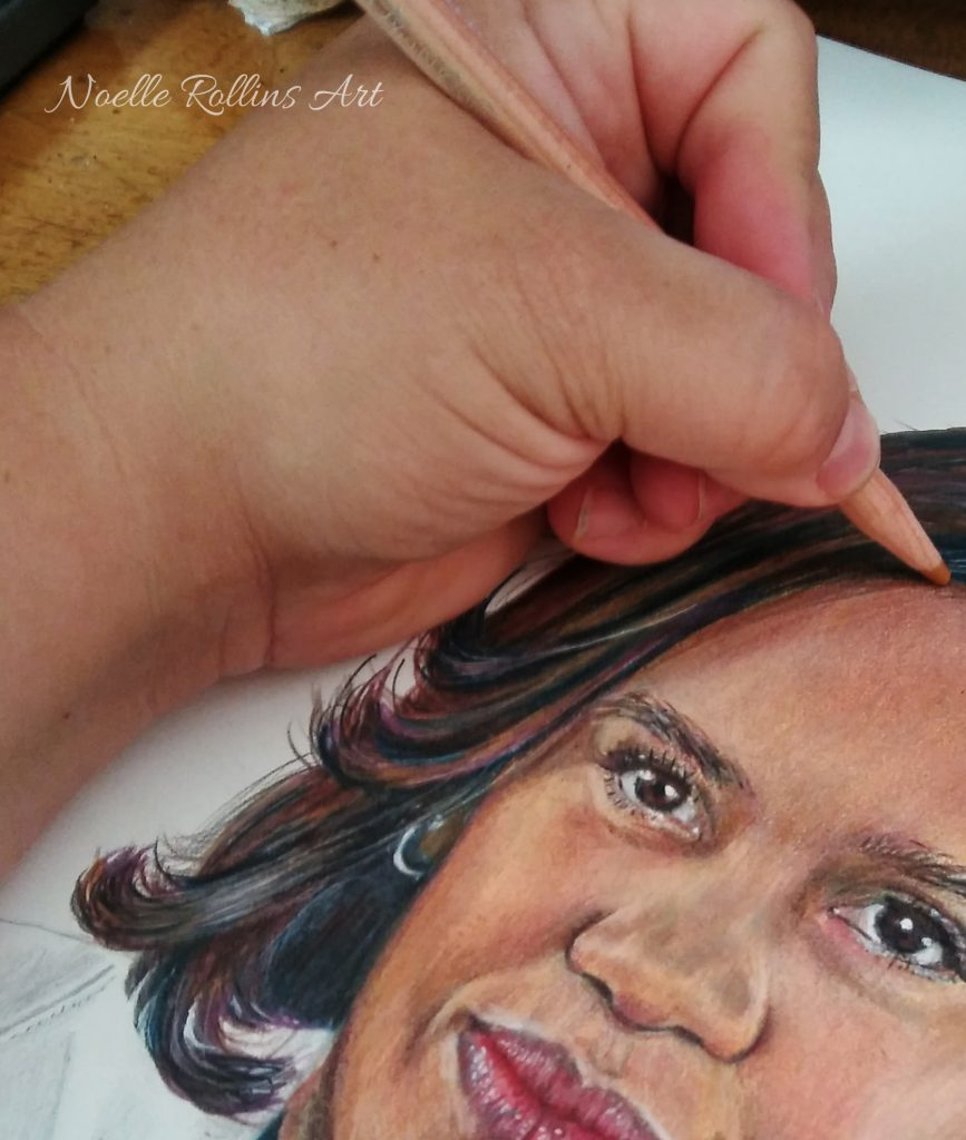 drawing in progress of chandra wilson