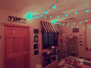 white lights across store