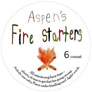 Aspens fire starters label