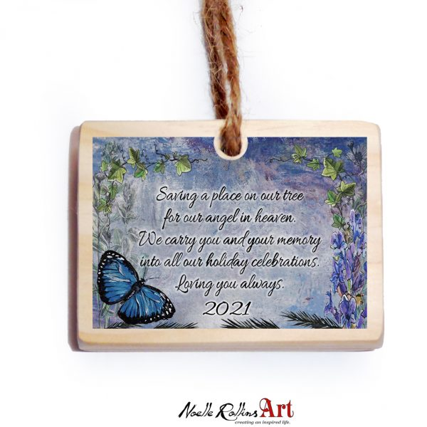 blue butterfly memorial ornament