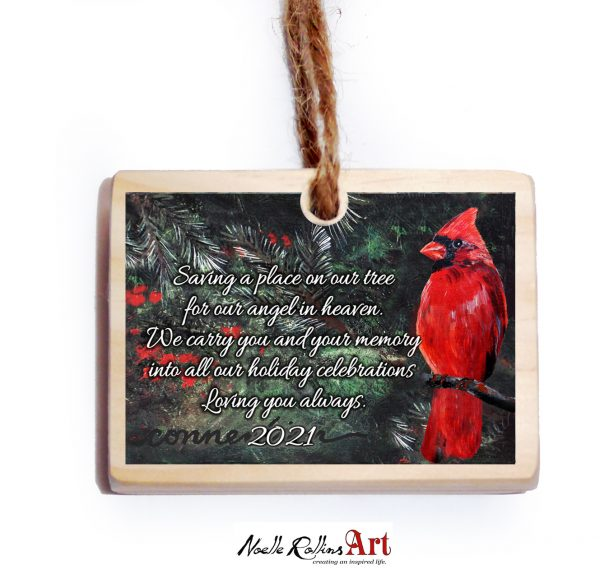 cardinal in evergreens memorial ornament