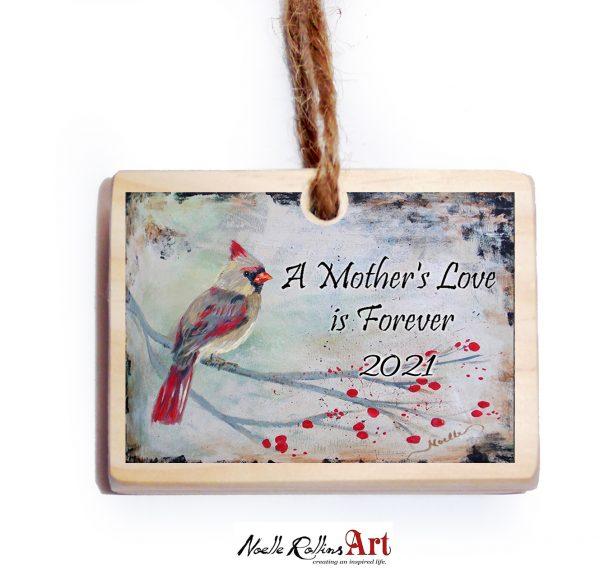 female cardinal mom memorial ornament