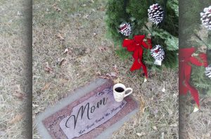moms grave with christmas wreath