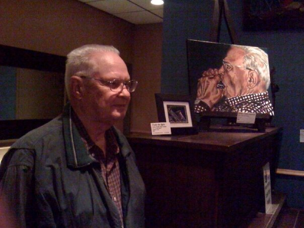 Grandpa with portrait remembrance