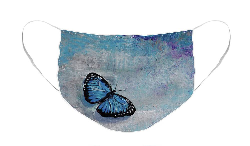 blue butterfly face mask