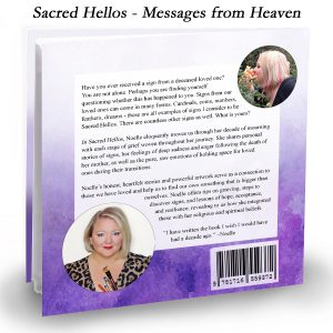 back cover of Sacred Hellos Messages from Heaven book by Noelle Rollins