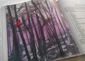 Cardinal in forest artwork