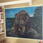 bear artwork on drawing board